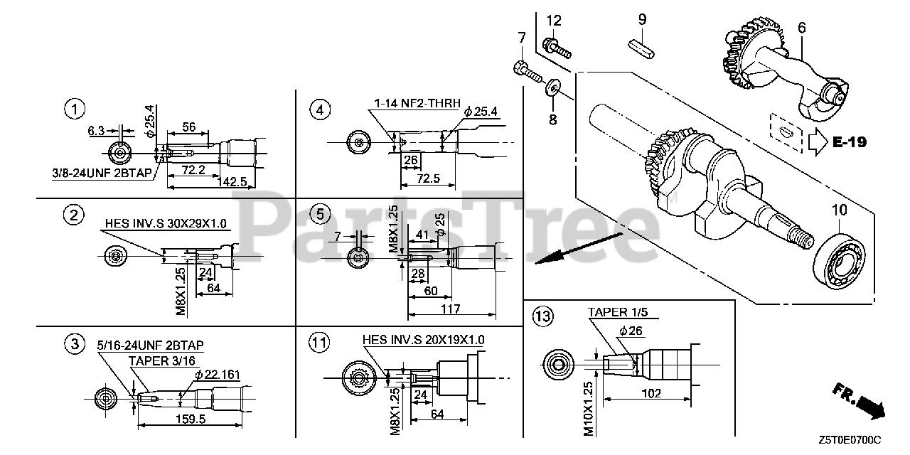 Honda GX390 UT2 VA2 (GCBCT) - Honda Engine, Made in Thailand (SN:  GCBCT-1000001 - GCBCT-9999999) CRANKSHAFT Parts Lookup with Diagrams |  PartsTreePartsTree