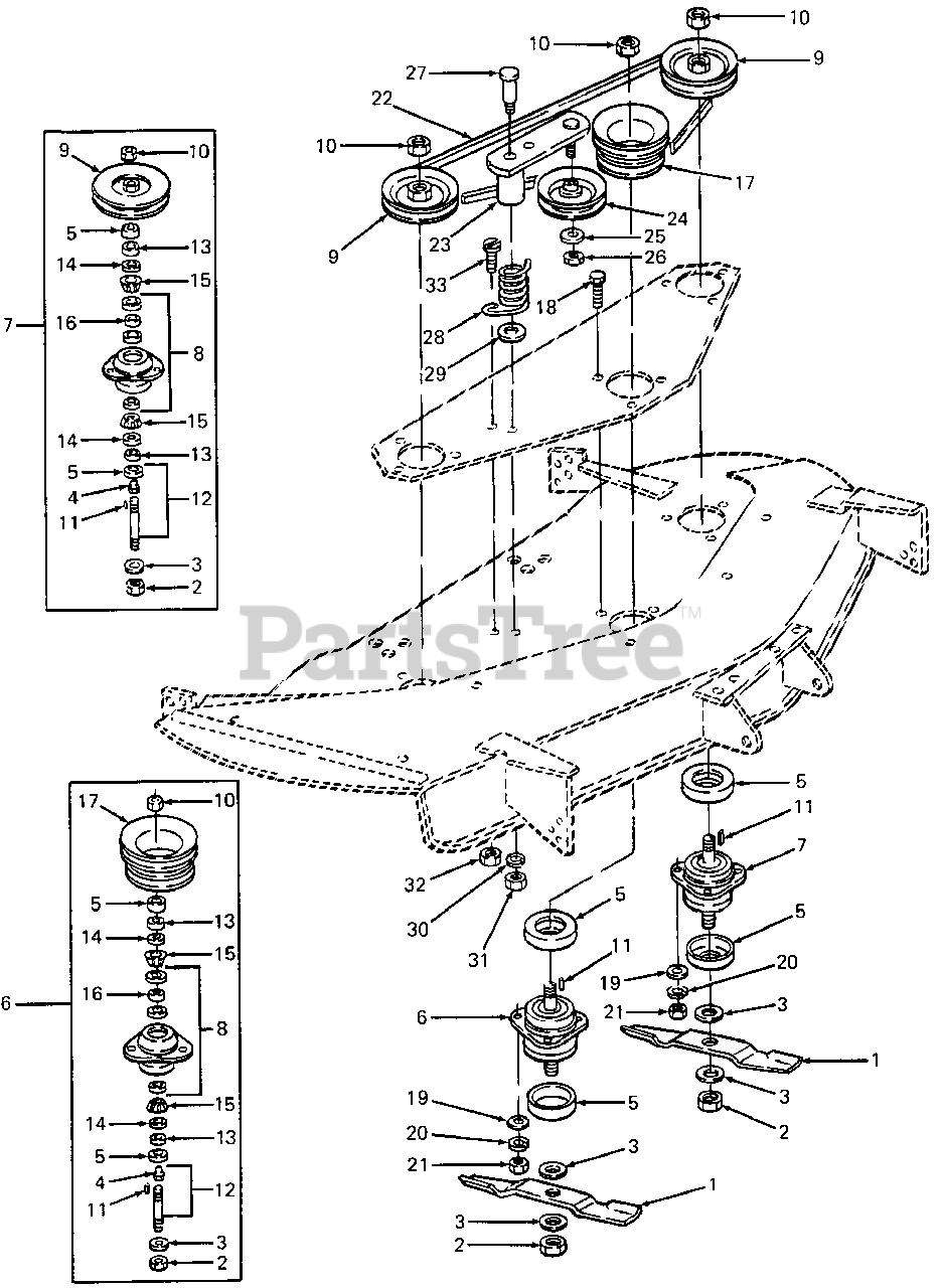 Cub Cadet Parts On The Blades  U0026 Spindles Diagram For 358