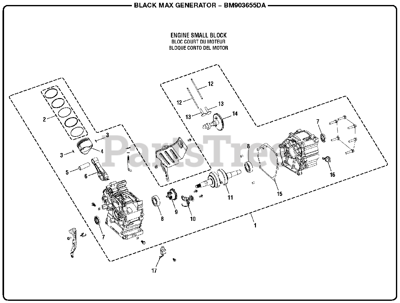 Black Max BM 903655 DA - Black Max 3,650 Watt Generator General Assembly ( Engine Small Block) Parts Lookup with Diagrams | PartsTreePartsTree