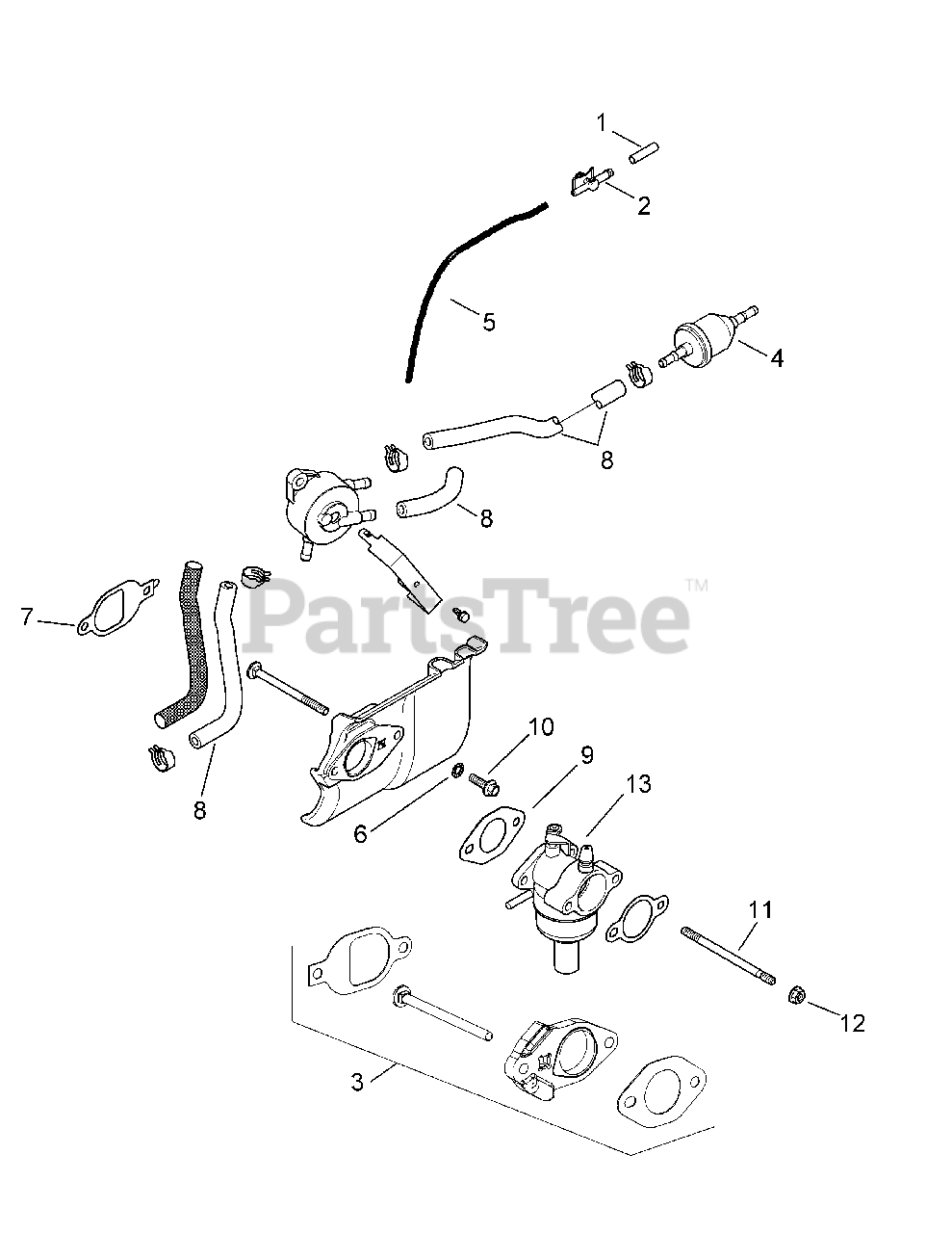 Cub Cadet Parts On The Kohler Sv541-3212 Fuel System Diagram For Xt1-lt 42  13ava1cs056