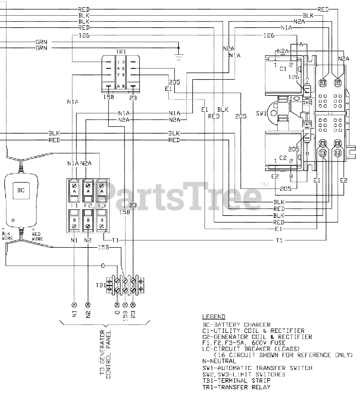 Generac RTSH100A1 - Generac Power Transfer Switch (SN: 5118395 - 5167125)  (2016) Wiring - Diagram (0G7958) Parts Lookup with Diagrams | PartsTreePartsTree