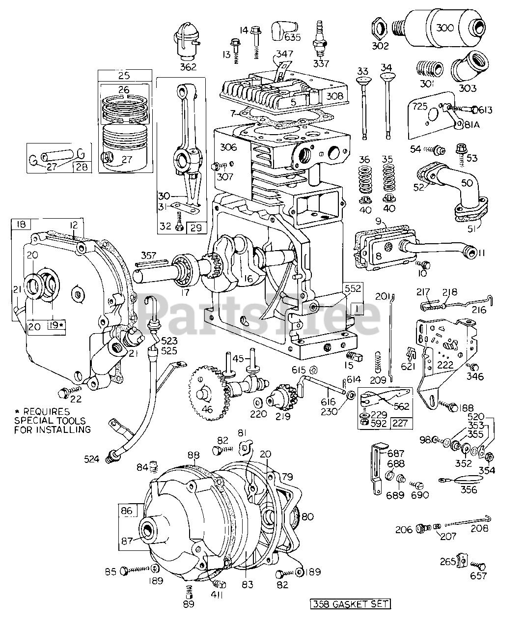 Briggs & Stratton Parts on the Cyl, Piston, ler, CrnkCse ... on