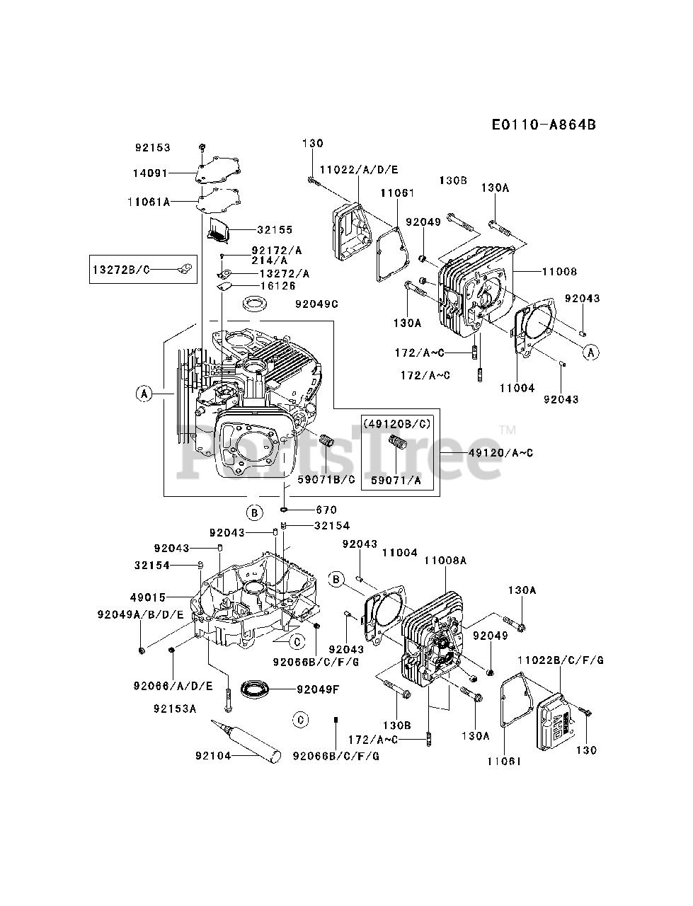 Kawasaki FR651V-AS10 - Kawasaki Engine CYLINDER/CRANKCASE Parts Lookup with  Diagrams   PartsTreePartsTree