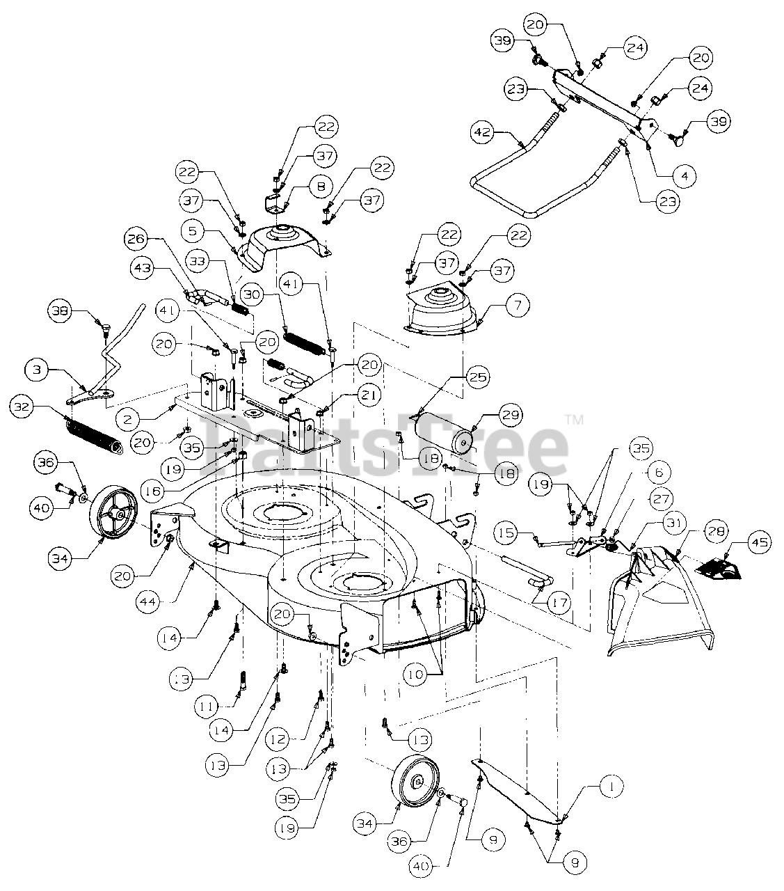 Cub Cadet Parts On The 38 U0026quot  Deck Assembly Diagram For 2130