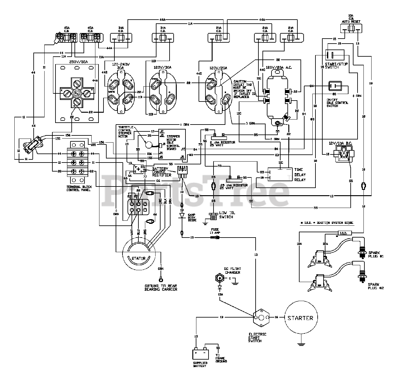 Generac 9801 8 Generac Exl 10 000 Watt Portable Generator Wiring Diagram Parts Lookup With Diagrams Partstree