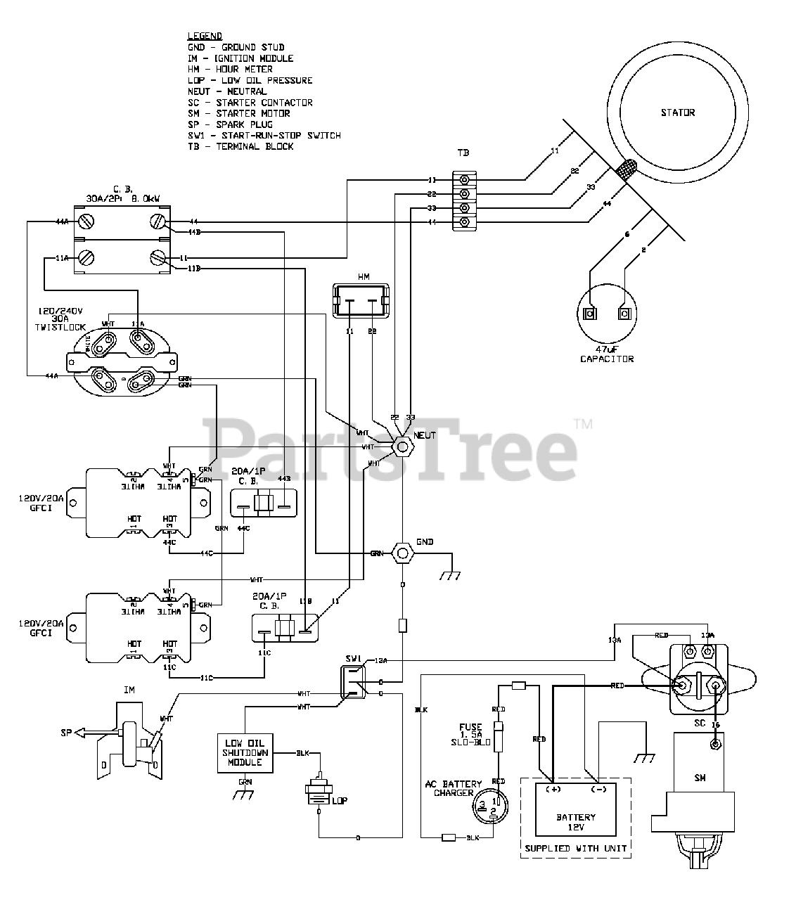 Generac XP8000 (0056061) - Generac Portable Generator (SN: 5822566 -  6264278) (2011) Wiring - Diagram (OG9561) Parts Lookup with Diagrams    PartsTree   Generac Engine Wiring Diagram      PartsTree
