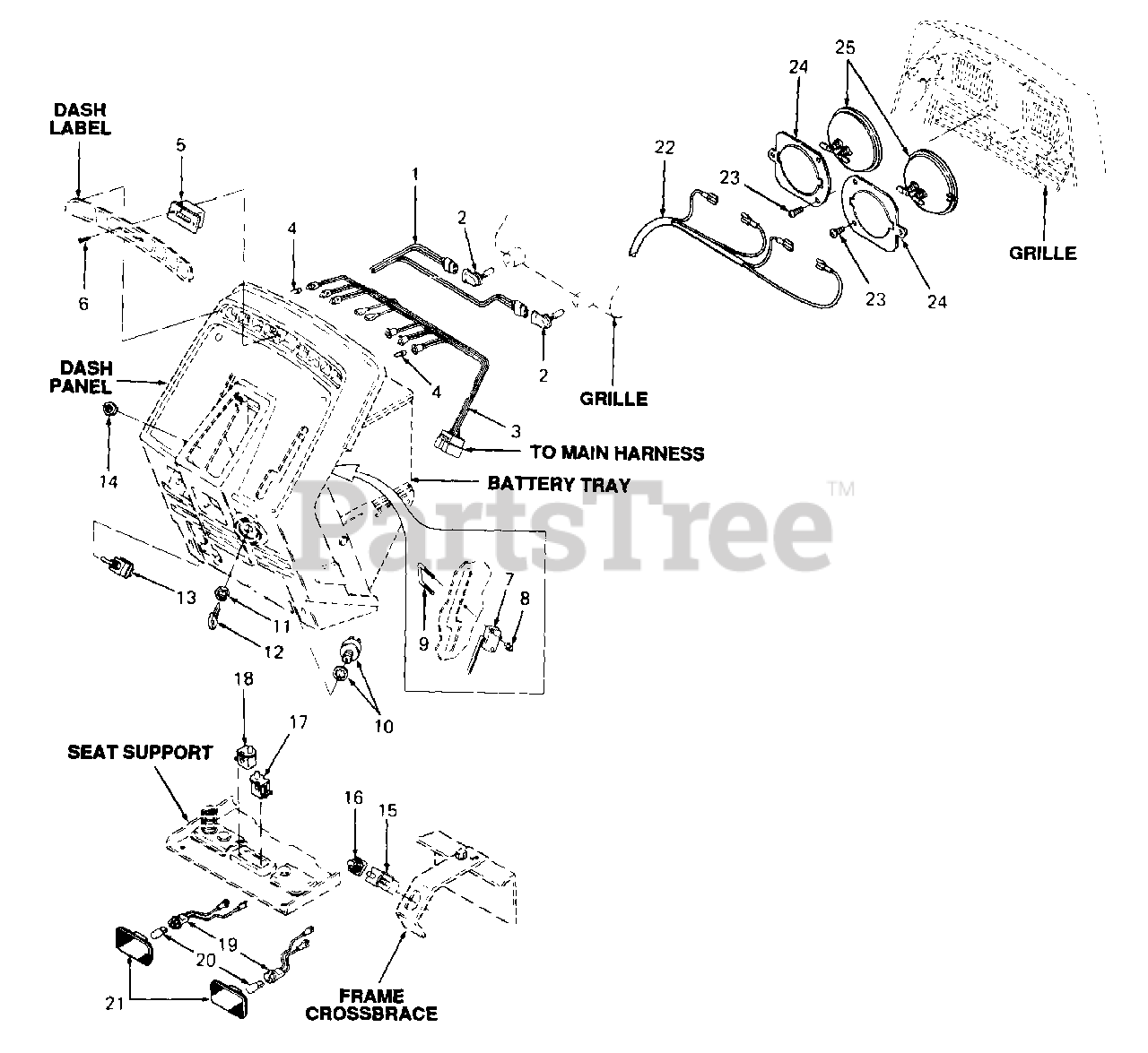Cub Cadet Parts On The Electrical Diagram For 1440  144