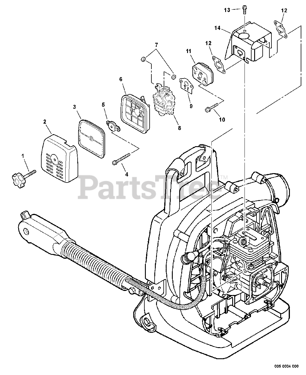 Echo PB-260L - Echo Backpack Blower Parts (SN: 07001001 - 07999999) Intake,  Cylinder Cover Parts Lookup with Diagrams | PartsTreePartsTree