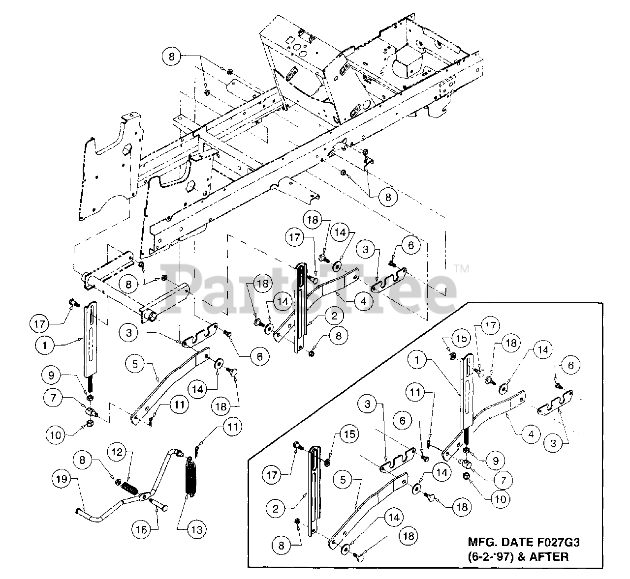 Cub Cadet Parts On The Implement Lift Hanger Diagram For 2185  136-288-100