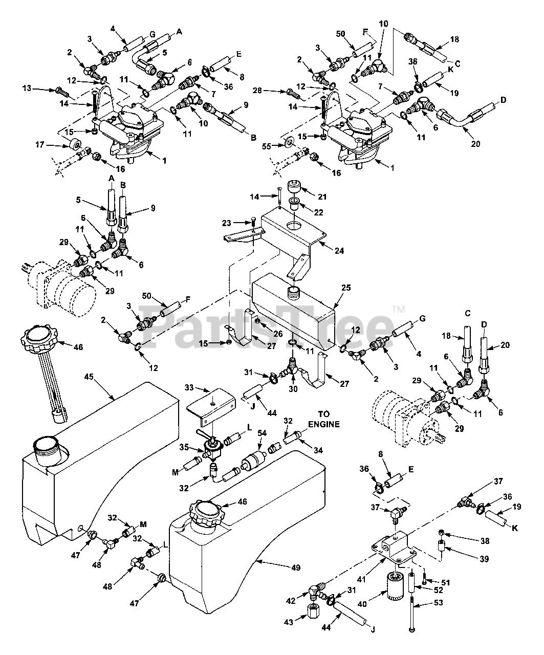 Scag Stc48a 19ka Scag Tiger Cub 48 Zero Turn Mower 19hp Kawasaki Sn 5880000 5889999 Fuel And Hydraulic System Parts Lookup With Diagrams Partstree