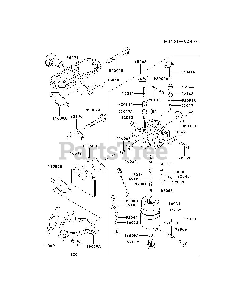 Kawasaki FB460V-ES33 - Kawasaki Engine CARBURETOR Parts Lookup with Diagrams    PartsTreePartsTree