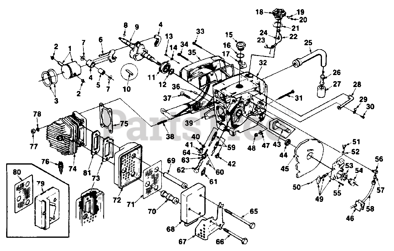 Homelite UT-10510-A - Homelite Super XL 925W Chainsaw Engine Internals Parts  Lookup with Diagrams | PartsTreePartsTree