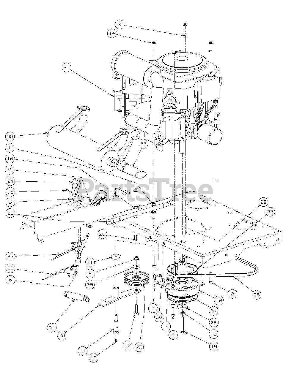 Cub Cadet Parts On The Engine Assembly Kohler Diagram For M60-kh  53cb5bdx750
