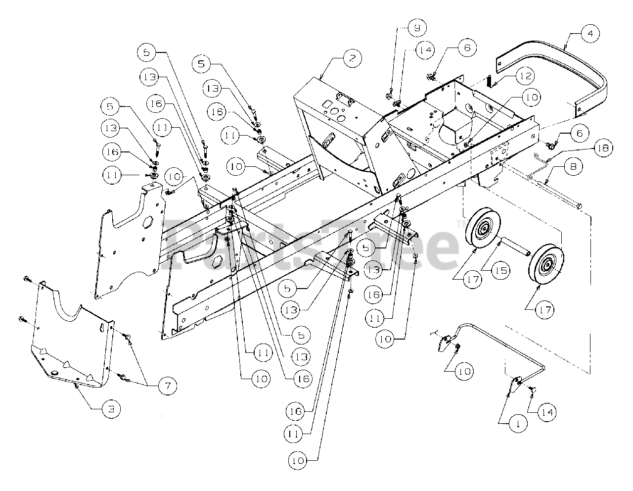 Cub Cadet Parts On The Frame And Drawbar Diagram For 2166  13a-214g100