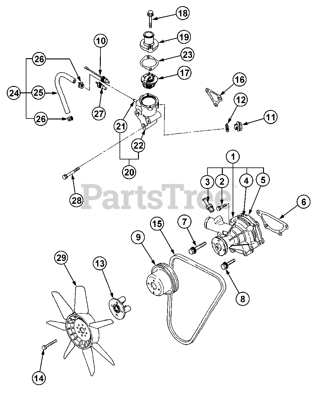 Cub Cadet Parts On The Cooling System Diagram For 7360 Ss