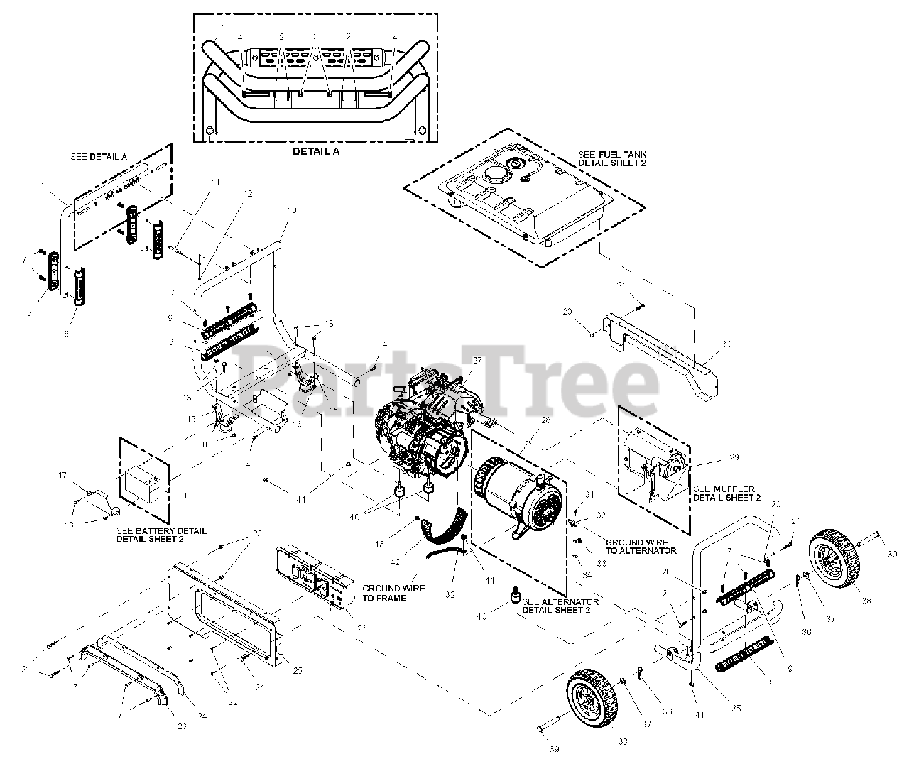 Generac Parts On The Ev Xt8000e  0k3609  Diagram For Xt8000  0064330