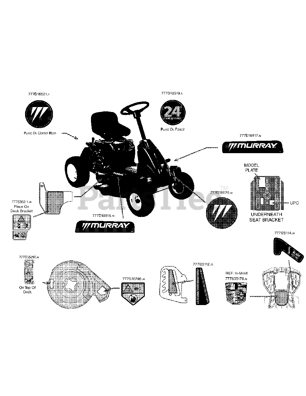 Murray 13B326JC758 - Murray Lawn Tractor (2014) Label Map ...