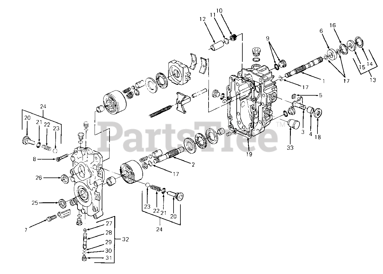 cub cadet parts on the hydro pump diagram for 1720 139