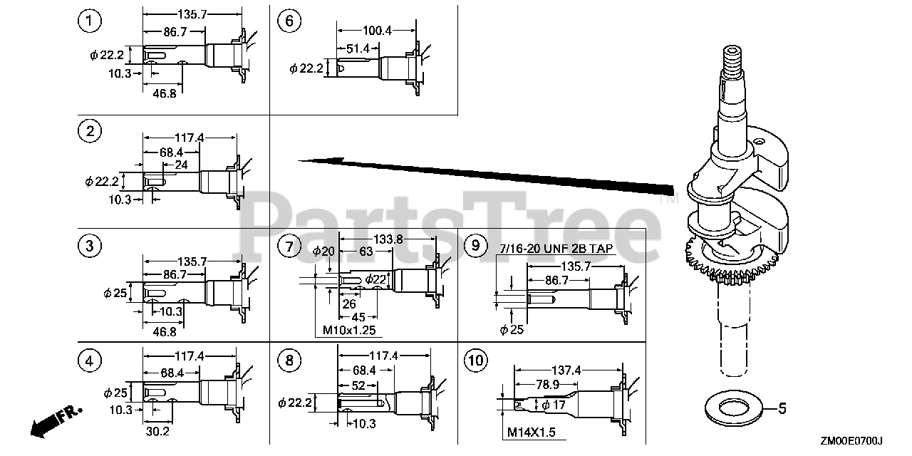 [SCHEMATICS_48YU]  Honda GCV160 N1 (GJAE) - Honda Engine, Made in Japan (SN: GJAE-1000001 -  GJAE-9999999) CRANKSHAFT 2 Parts Lookup with Diagrams | PartsTree | Honda 2 7 Engine Diagram |  | PartsTree
