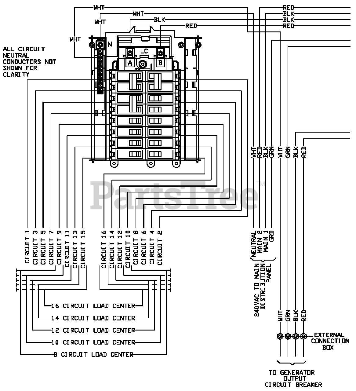 Generac RTG16EZA1 - Generac Power Transfer Switch (SN: 8652458 - 9574364)  (2015) Wiring Diagram (0H6453) Parts Lookup with Diagrams | PartsTree | 6 Circuit Transfer Switch Wiring Diagram |  | PartsTree