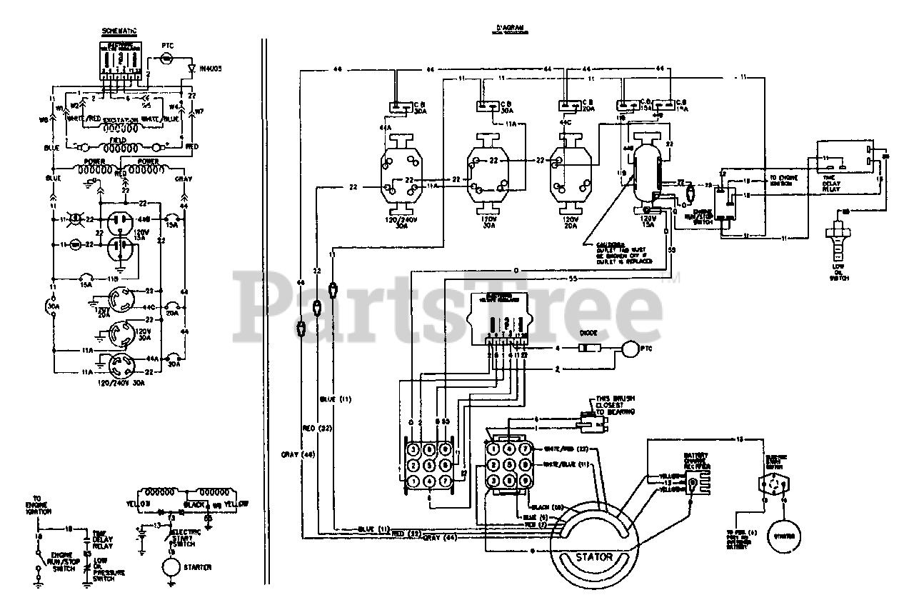 Generac 4W113A (9163-0) - Generac 8,000 Watt Portable Generator Wiring  Diagram And Electrical Data Parts Lookup with Diagrams   PartsTree   Generac 11kw Generator Wiring Schematic      PartsTree