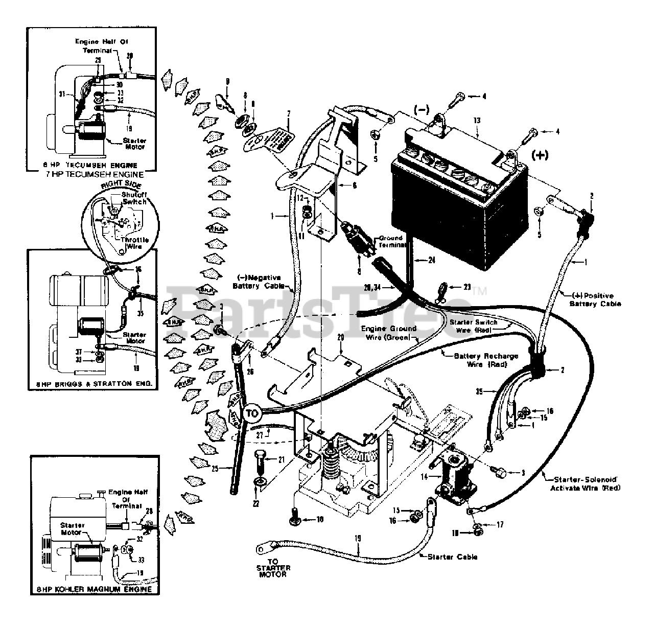 [CSDW_4250]   Troy-Bilt 6000-8811 - Troy-Bilt Horse III Rear-Tine Tiller Electric Start  System - 6HP, 7HP, & 8HP Tillers Parts Lookup with Diagrams   PartsTree   Troy Bilt Solenoid Wiring Diagram      PartsTree