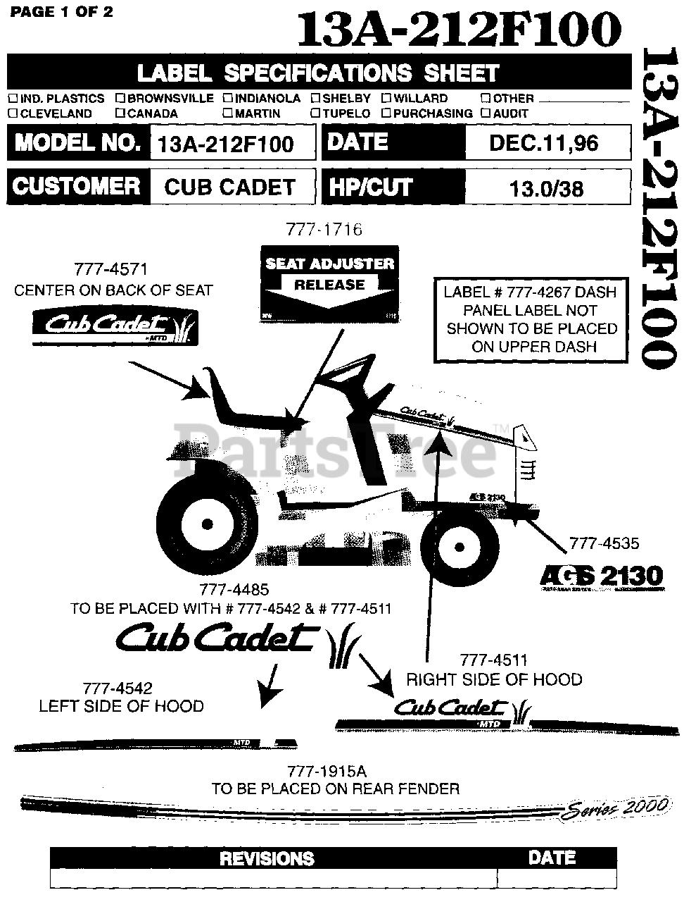 Cub Cadet 2130  13a-212f100