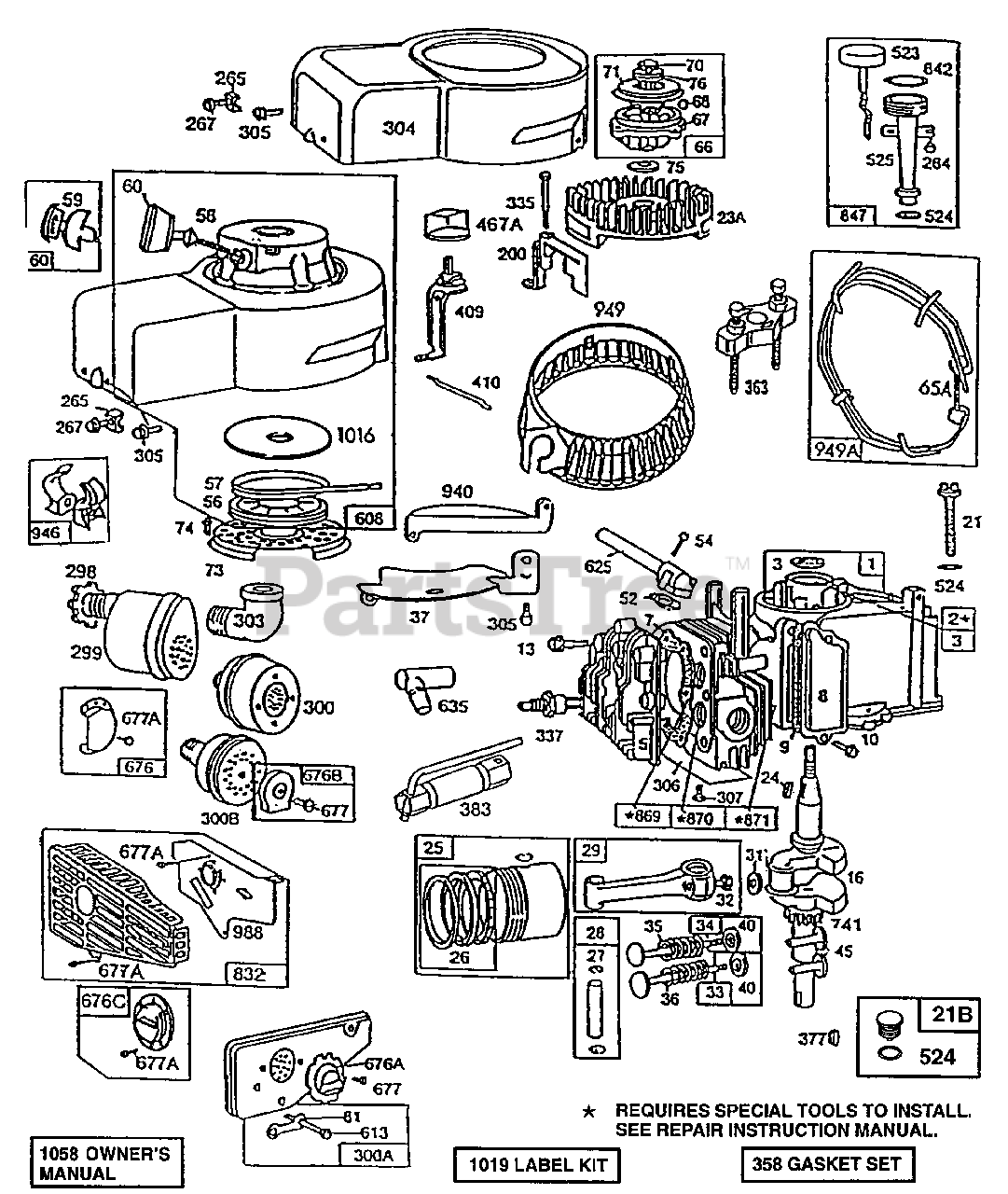 briggs & stratton 92982-5368-02 - briggs & stratton vertical engine  cylinder,mufflers,piston grp parts lookup with diagrams | partstree  partstree