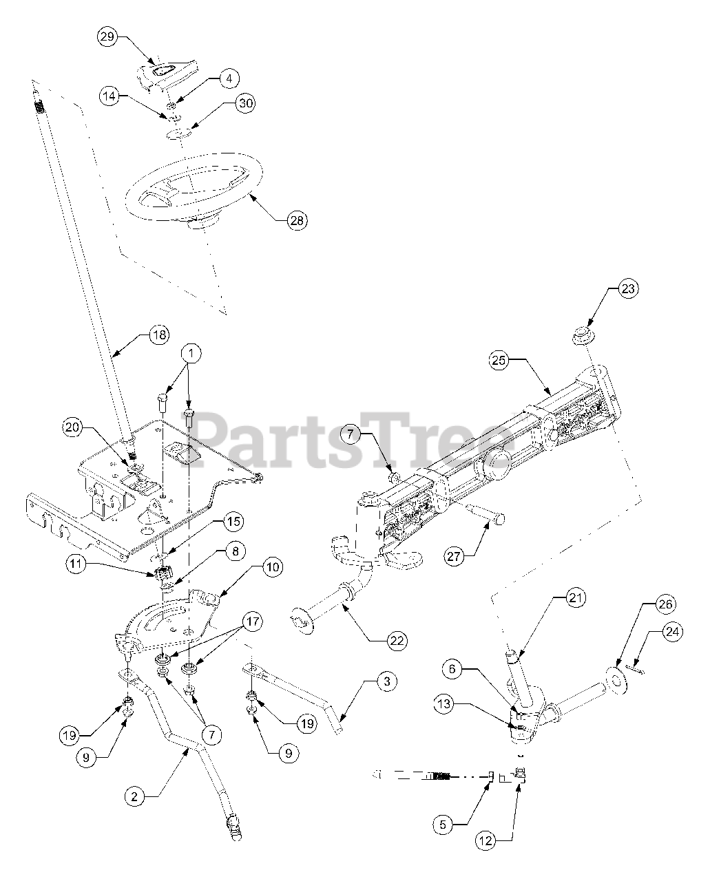 Cub Cadet Parts On The Steering Diagram For 1525  13a-221f100