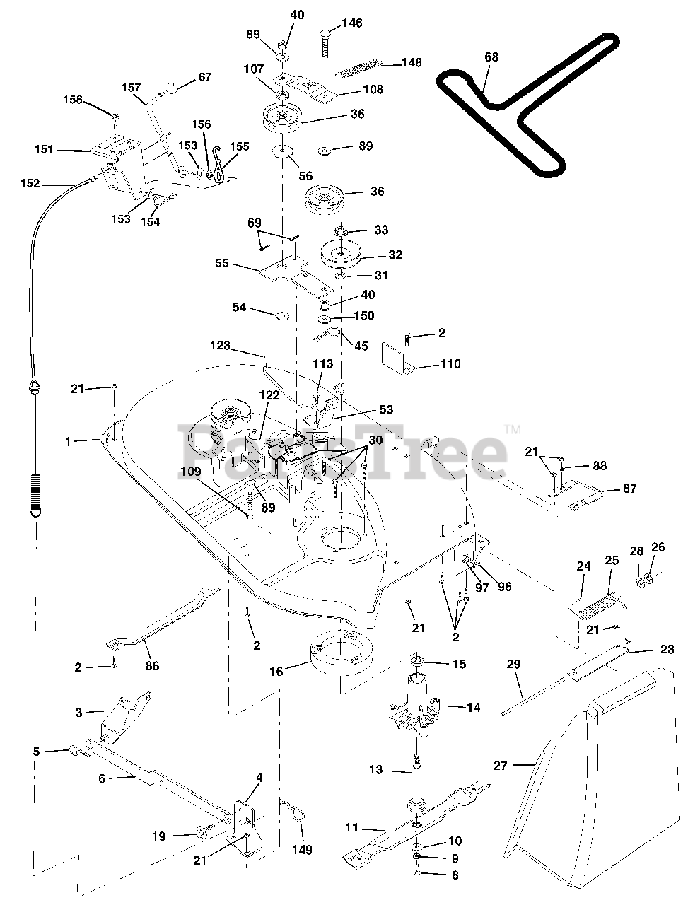 Poulan Parts On The Mower Deck Diagram For 271491