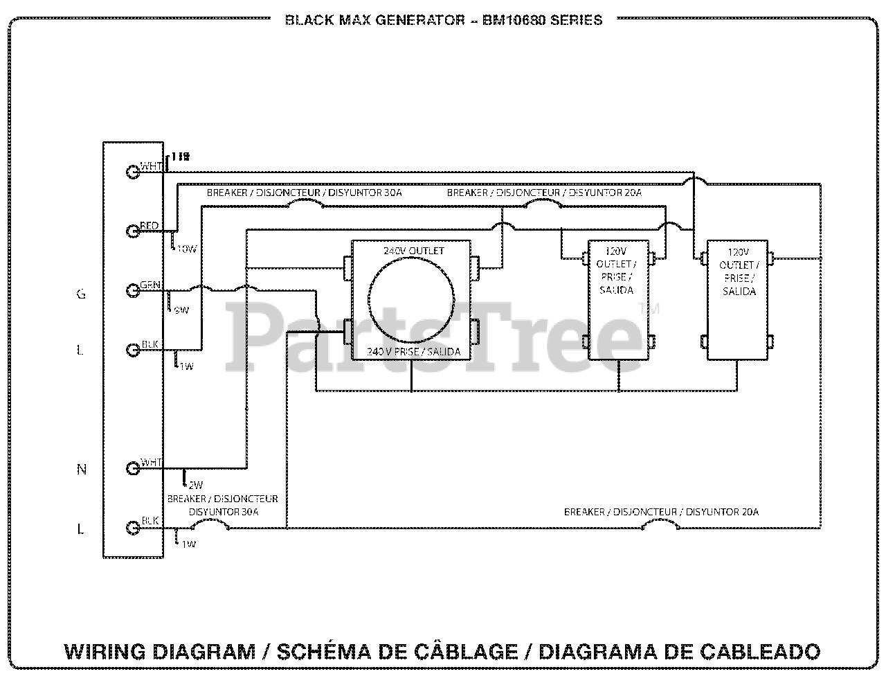[SODI_2457]   Black Max BM 10680 - Black Max 6,800 Watt Generator Wiring Diagram Parts  Lookup with Diagrams   PartsTree   Black Max Generator Wiring Schematic      PartsTree