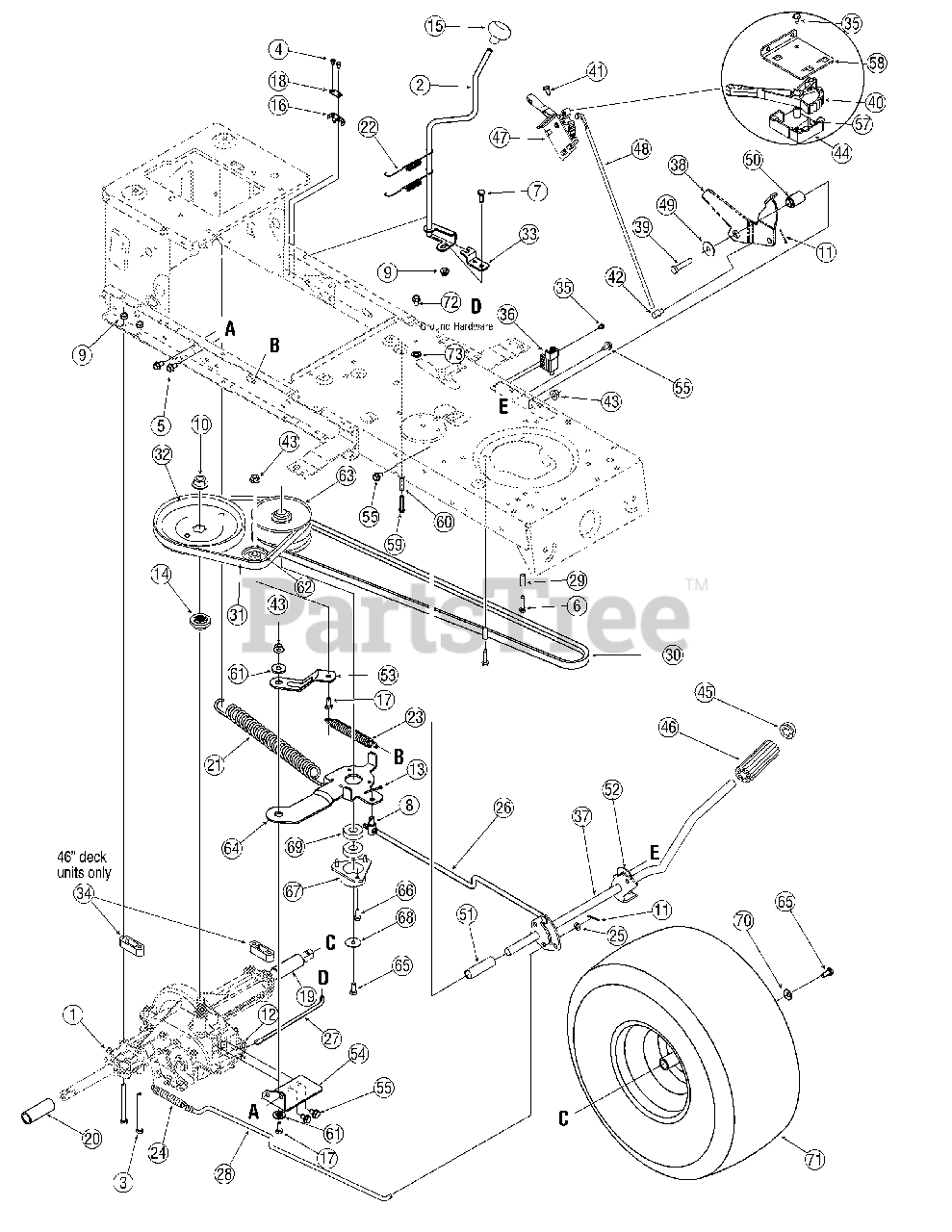 Troy Bilt 13an77tg766 Troy Bilt Pony Lawn Tractor 2007 Drive Parts Lookup With Diagrams Partstree