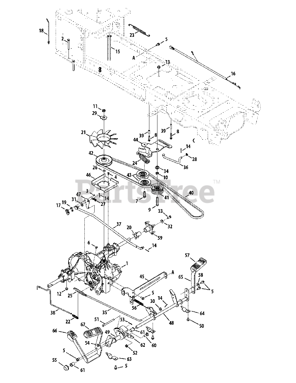 Cub Cadet Parts On The Drive System Diagram For Sltx 1054