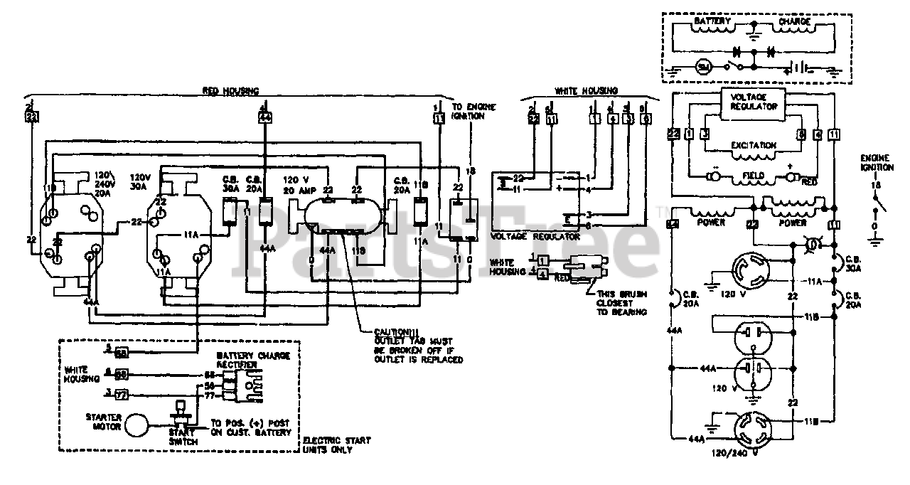 Generac L5000E (8877-1) - Generac 5,000 Watt Portable Generator Electrical  Schematic & Wiring Diagram No. 68729 Parts Lookup with Diagrams | PartsTree | Generac 5000 Generator Wiring Diagram |  | PartsTree