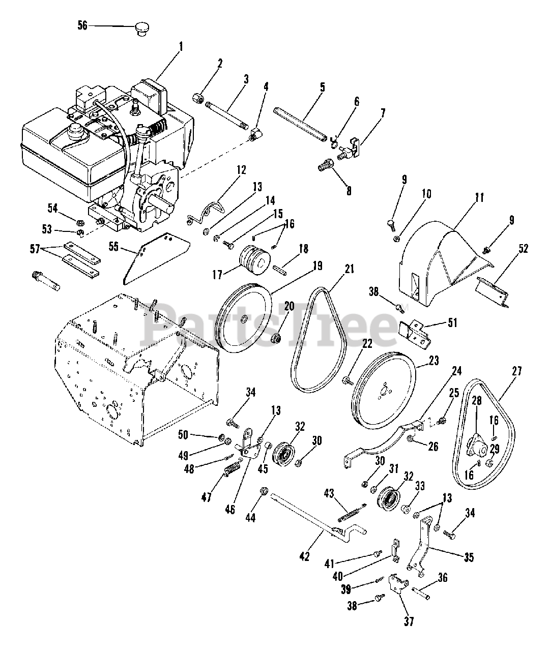 Ariens Parts On The Engine And Belt Drive Diagram For 924079  St 824 S