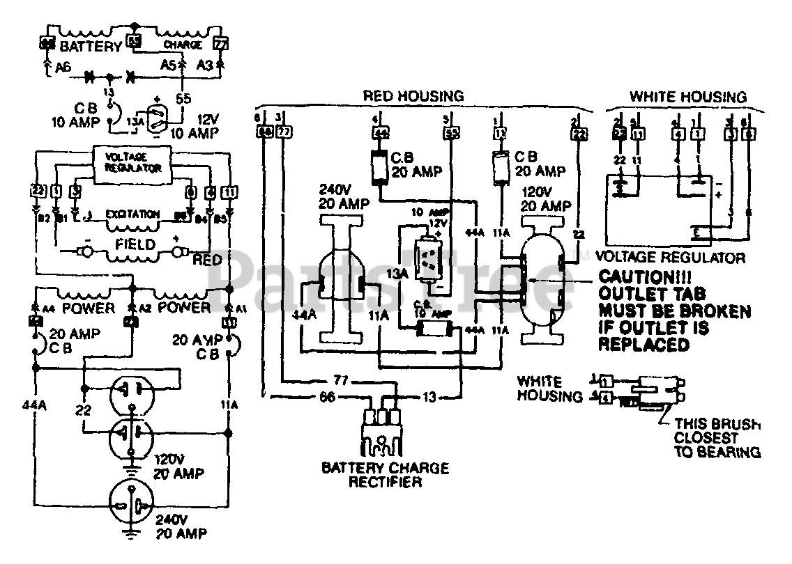 Generac 4W109 (8920-0) - Generac 5,000 Watt Portable Generator Wiring  Diagram For Model 4W109 Parts Lookup with Diagrams | PartsTree | Generac 5000 Generator Wiring Diagram |  | PartsTree