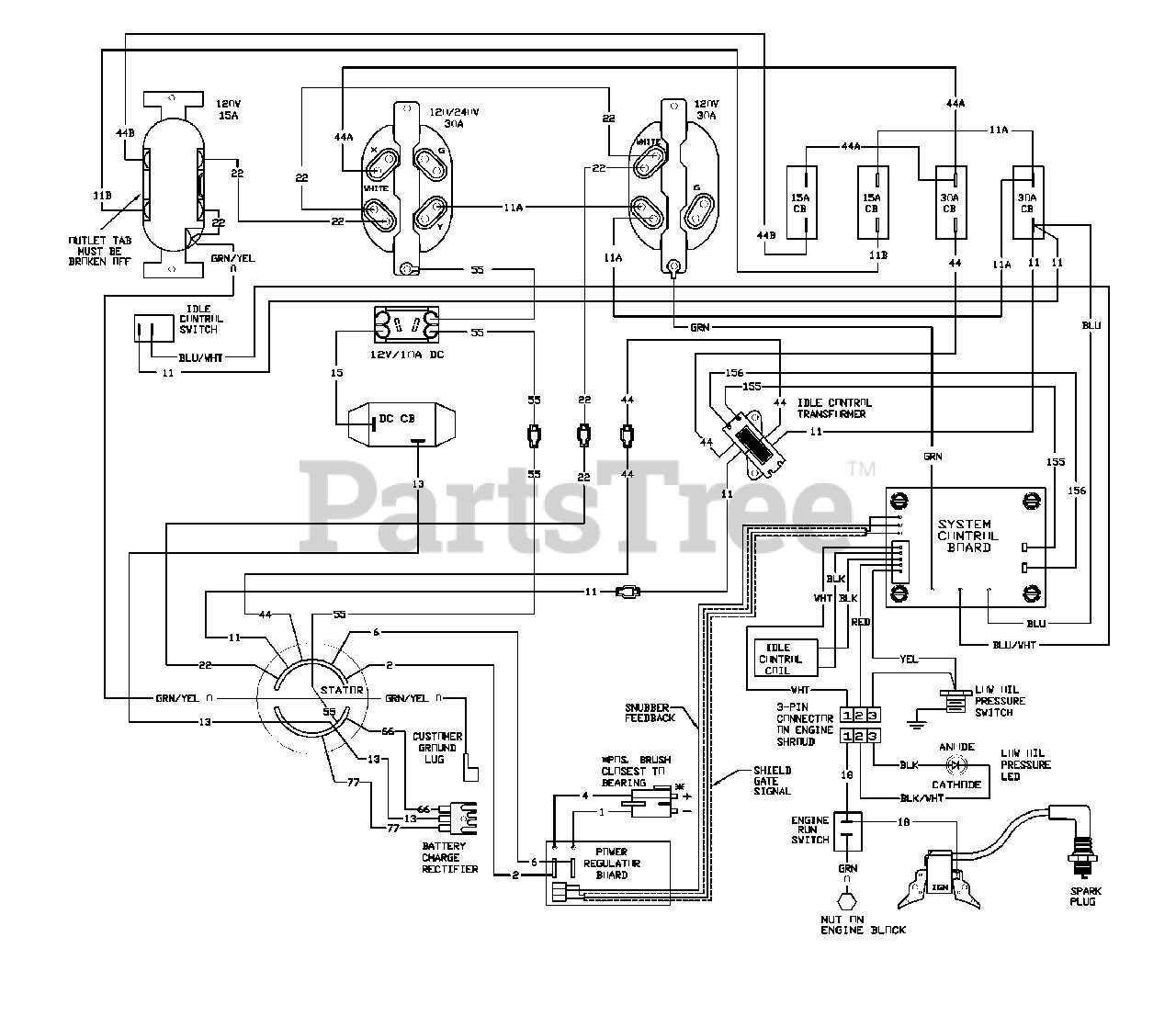 Generac 6500GCX (1788-0) - Generac 6,500 Watt Portable Generator Wiring  Diagram Parts Lookup with Diagrams | PartsTreePartsTree