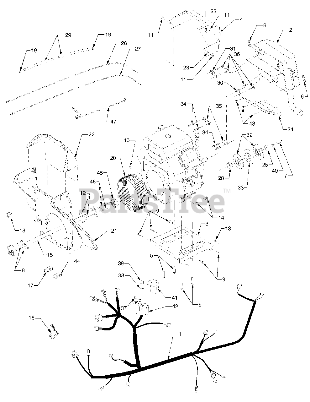 Cub Cadet Parts On The Driveshaft And Engine Connections