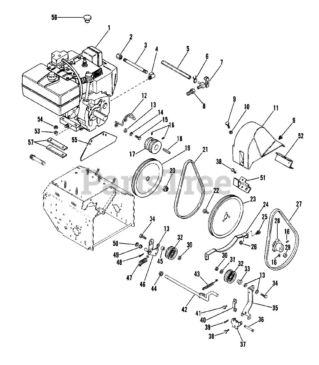 ariens 924051 (tt 8) - ariens snow blower, 8hp tecumseh (sn: 000501 &  above) engine and belt drive parts lookup with diagrams   partstree  partstree