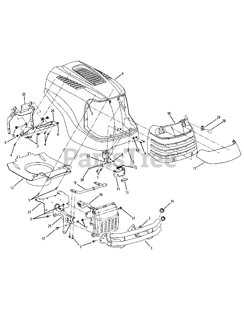 Cub Cadet Parts On The Hood  U0026 Grille Diagram For Slt 1550