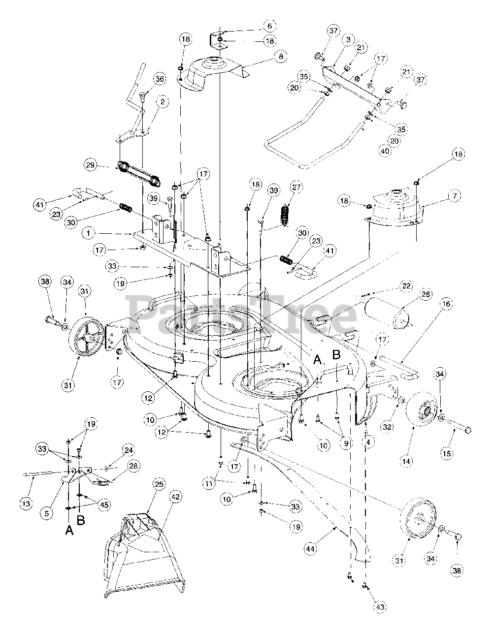 Cub Cadet Parts On The 42 U0026quot  Deck Assembly Diagram For 2166