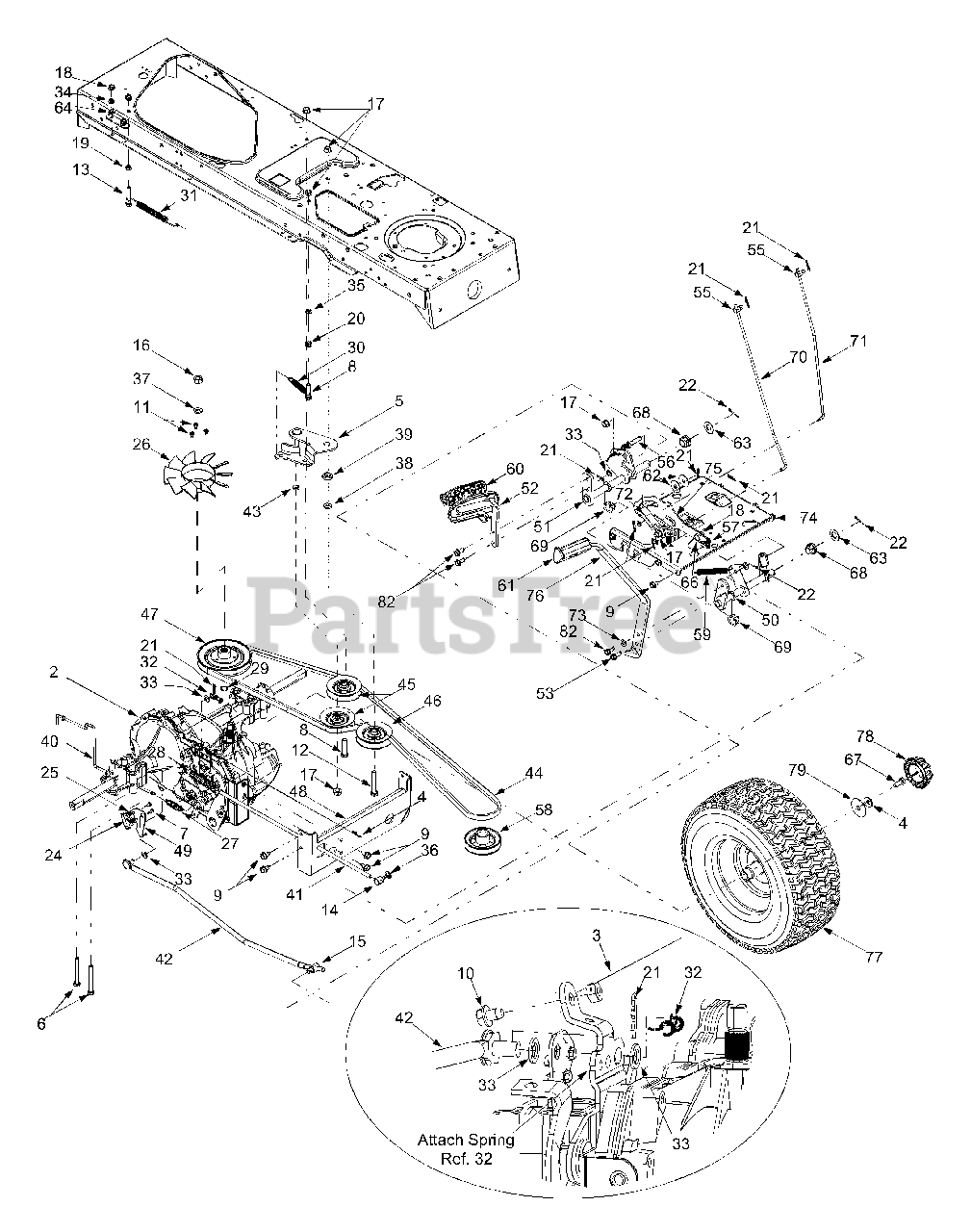 Yard-man Parts On The Drive  U0026 Rear Wheels Diagram For 13cx614g401