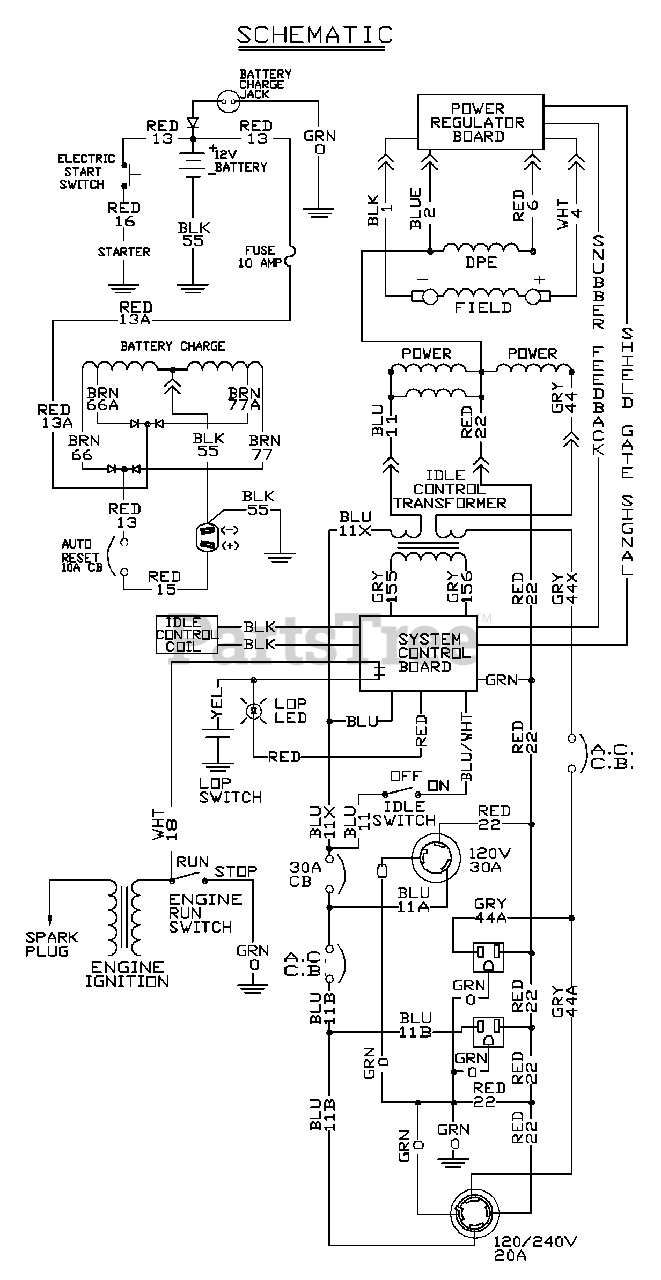 Generac 1645-0 - Generac EXL 4,000 Watt Portable Generator Wiring Schematic  Parts Lookup with Diagrams   PartsTree   Generac 4000 Wiring Schematic      PartsTree