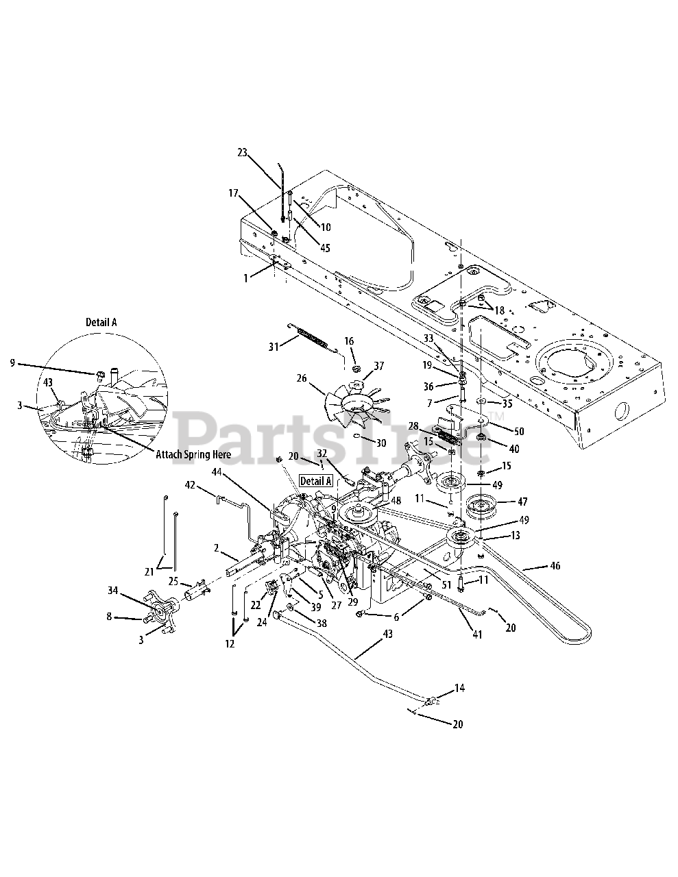 Cub Cadet Parts On The Drive System Diagram For Slt 1550