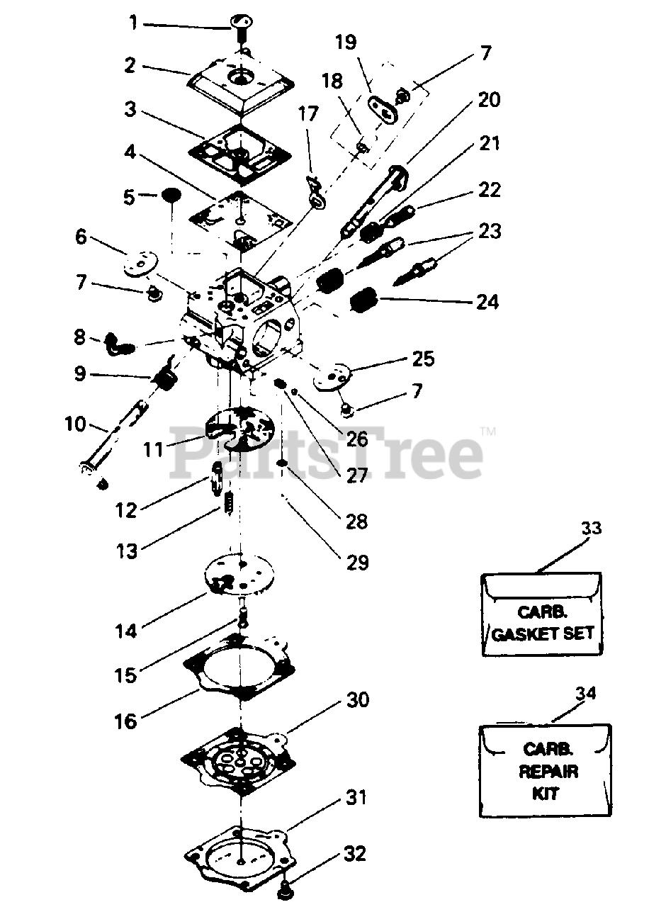Poulan Parts On The Carburetor Assembly P  N 35094 Diagram