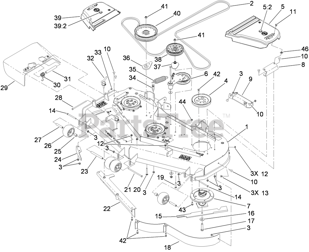 Toro Parts On The Deck Assembly Diagram For 74925 Te  6000