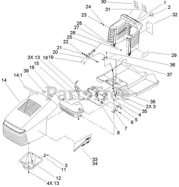 Toro Parts On The Hood And Tower Assembly Diagram For