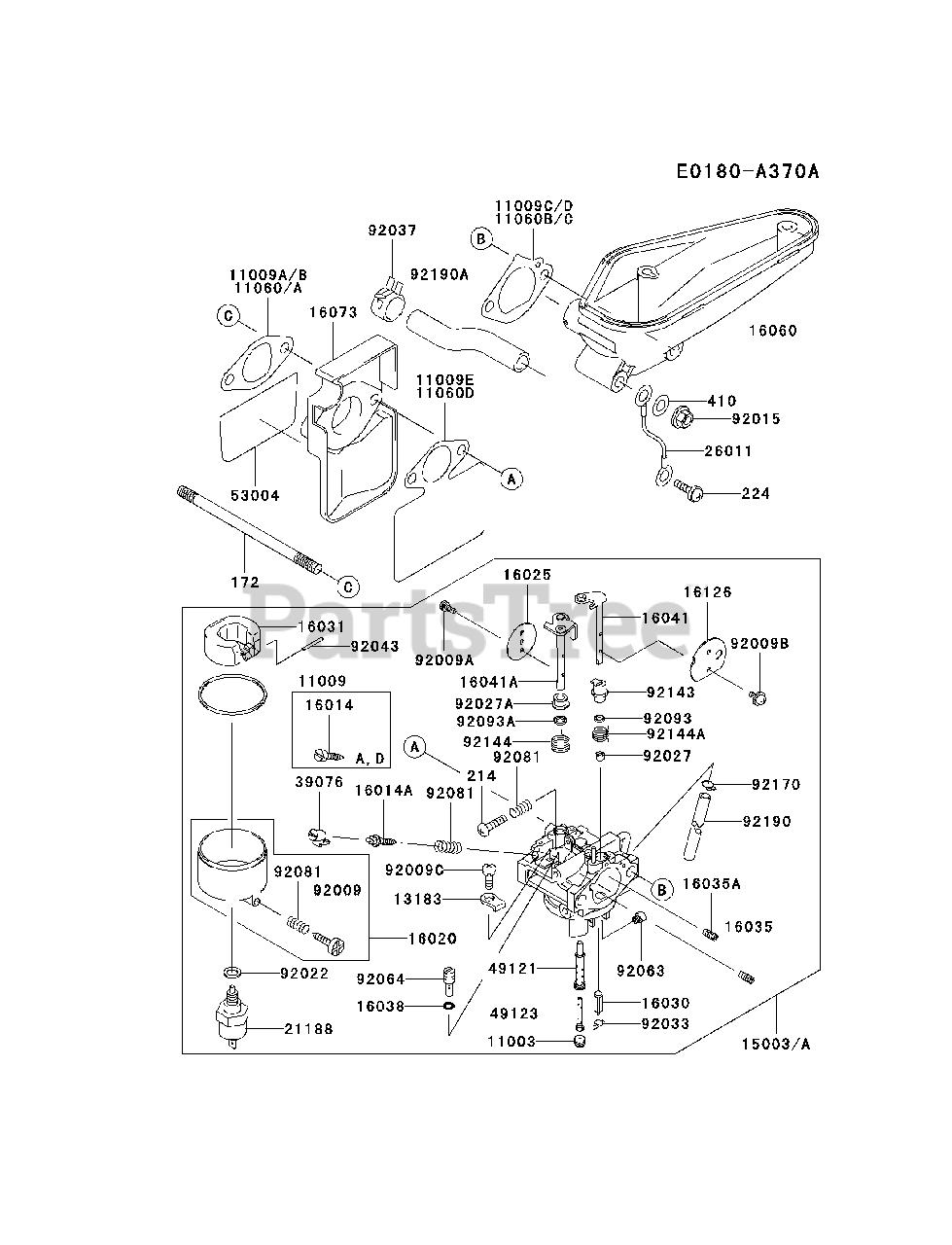 Kawasaki FC420V-FS16 - Kawasaki Engine CARBURETOR Parts Lookup with Diagrams  | PartsTreePartsTree