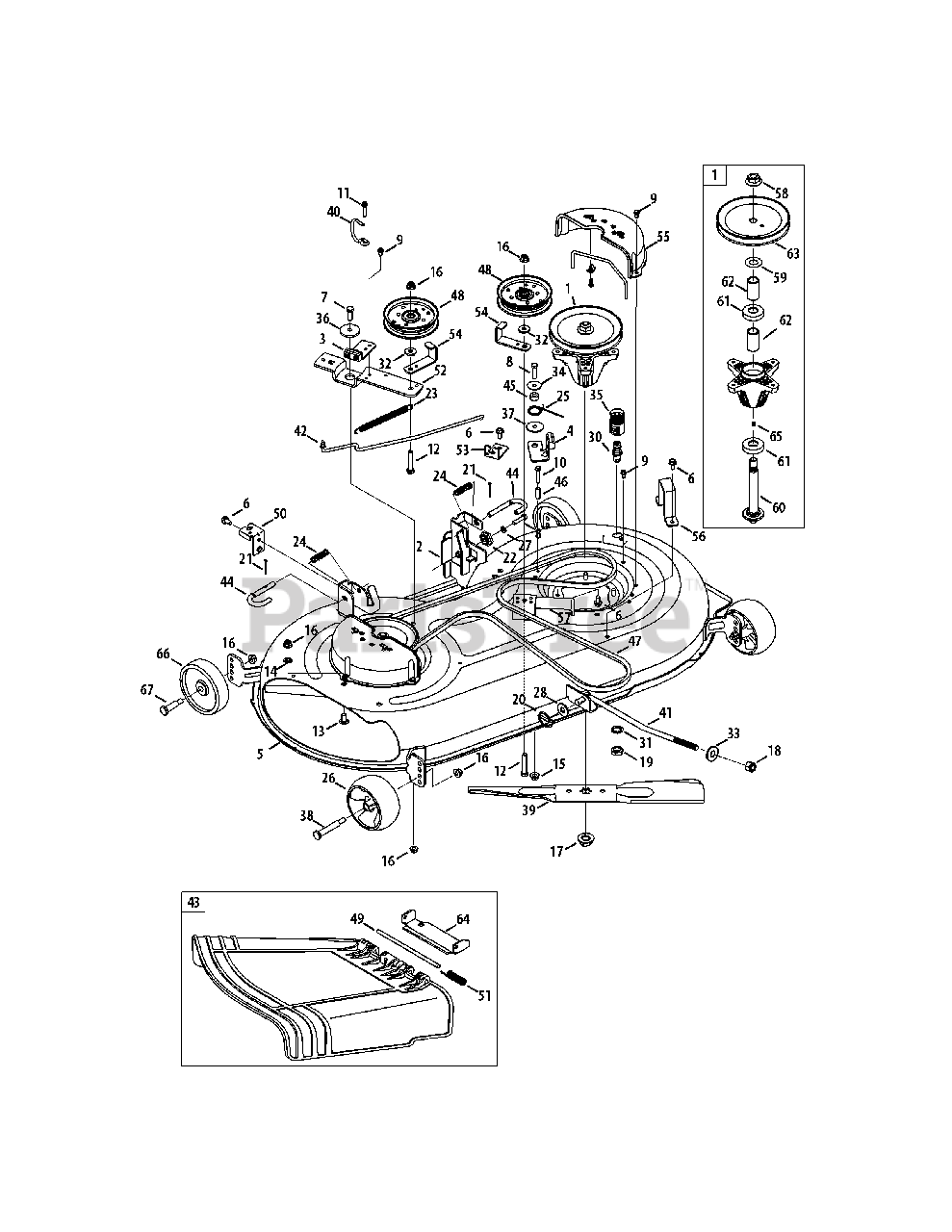 Cub Cadet Parts On The Mower Deck 42