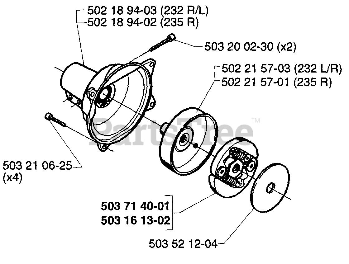 Husqvarna 232 R Schwingungsdämpfer pas f 235 R V-Nr 502 20 32-03